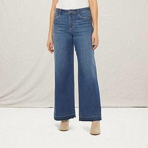 A.N.A. High Rise Wide Leg Jeans Raw Hem 6 Hippie